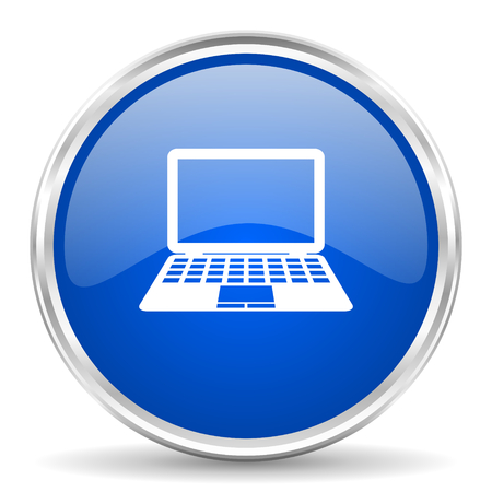 Computer blue glossy icon.