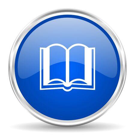 Book blue glossy icon. Illustration