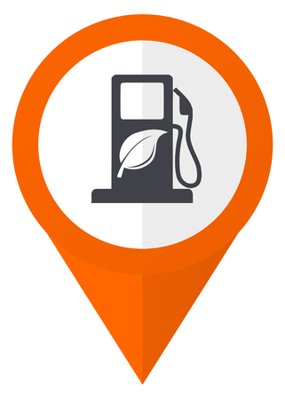 Biofuel orange pointer vector icon in eps 10 isolated on white background.