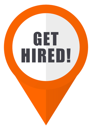 'Get hired' orange pointer vector icon isolated on white background.