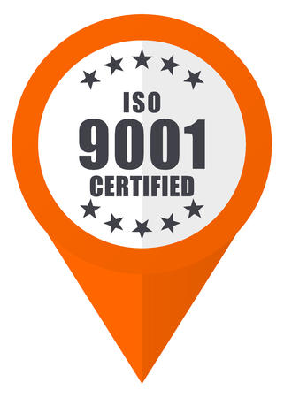 Iso 9001 orange pointer vector icon in eps 10 isolated on white background.
