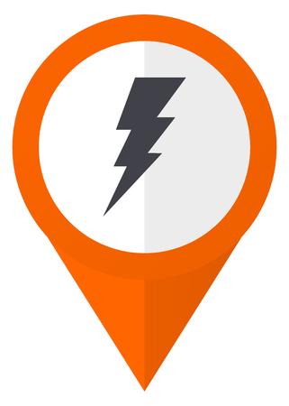 high voltage symbol: Bolt orange pointer vector icon in eps 10 isolated on white background. Illustration