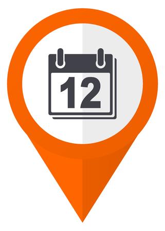Calendar orange pointer vector icon isolated on white background. Illustration