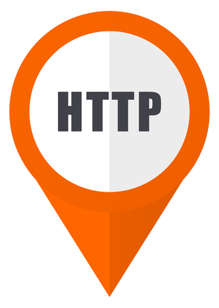 HTTP orange pointer vector icon isolated on white background. Ilustrace