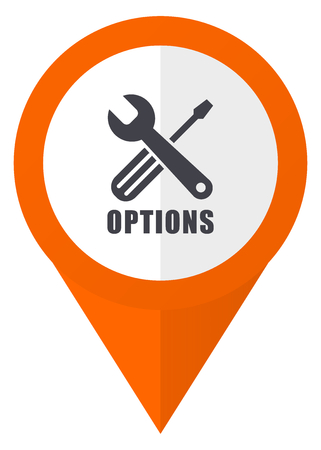 hardware: Options orange pointer vector icon in eps 10 isolated on white background.
