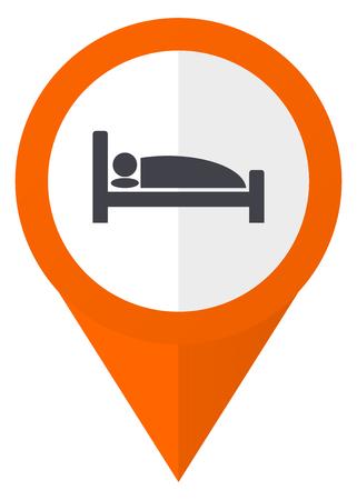 Hotel icono de vector de puntero naranja en eps 10 aislado sobre fondo blanco. Foto de archivo - 83912254