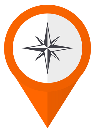 geodesy: Compass orange pointer vector icon in eps 10 isolated on white background.