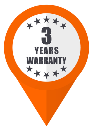 Warranty guarantee 3 year orange pointer vector icon in eps 10 isolated on white background. Illustration