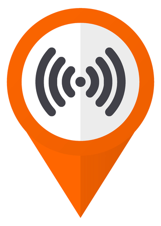 Wifi orange pointer vector icon in eps 10 isolated on white background. Illustration