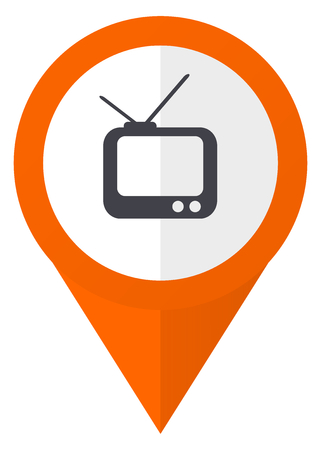 Tv orange pointer vector icon in eps 10 isolated on white background.