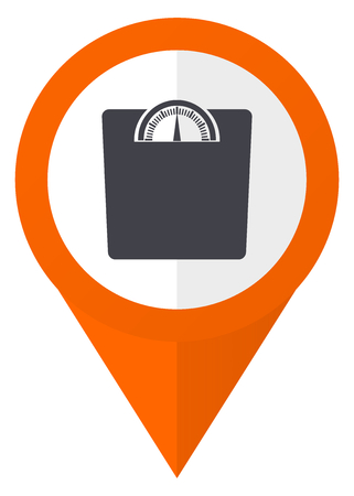 map pin: Weight orange pointer vector icon in eps 10 isolated on white background.