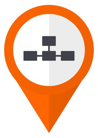 Database orange pointer vector icon in eps 10 isolated on white background. Illustration