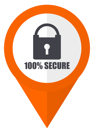 Secure orange pointer vector icon in eps 10 isolated on white background. Illustration