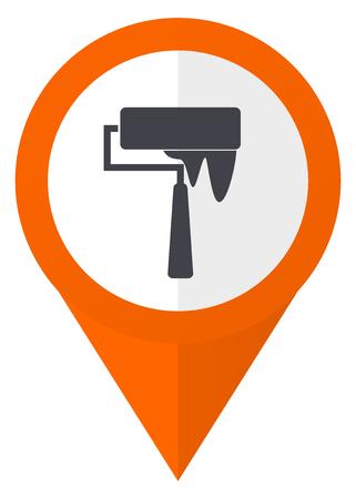 roller brush: Brush orange pointer vector icon in eps 10 isolated on white background. Illustration