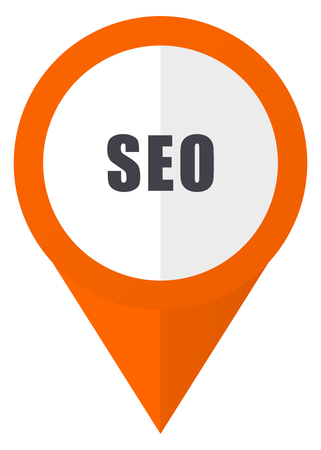 keywords: Seo orange pointer vector icon in eps 10 isolated on white background.