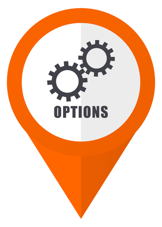 map toolkit: Options orange pointer vector icon in eps 10 isolated on white background.