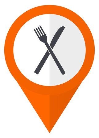 Restaurant orange pointer vector icon in eps 10 isolated on white background. Illustration