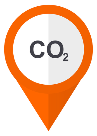 Carbon dioxide icon on orange pointer vector