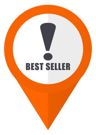 Best seller icon on orange pointer vector