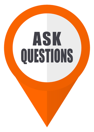 Ask questions orange pointer vector icon in eps 10 isolated on white background. Ilustrace