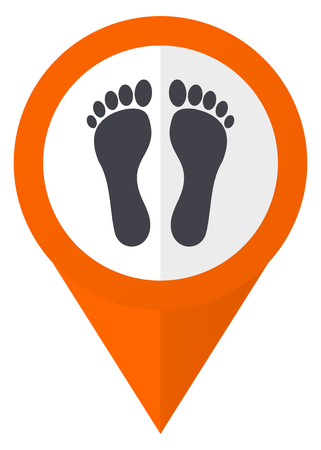 toe tag: Foot orange pointer vector icon in eps 10 isolated on white background. Illustration