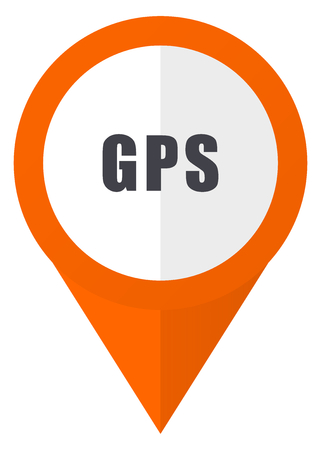 Gps orange pointer vector icon in eps 10 isolated on white background.