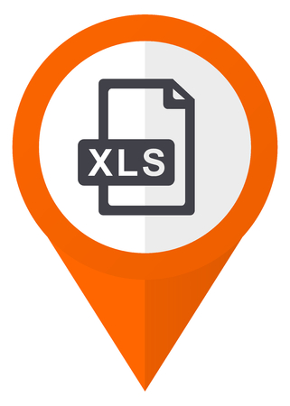 Xls file orange pointer vector icon in eps 10 isolated on white background.