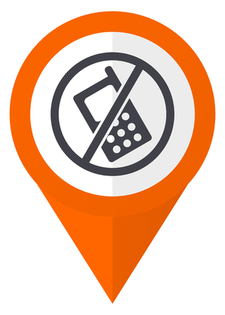 ないオレンジ ポインター ベクトルの電話アイコン eps 10 白い背景に分離されました。
