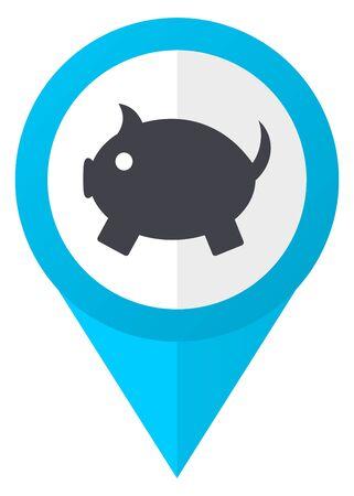 Piggy bank blue pointer icon