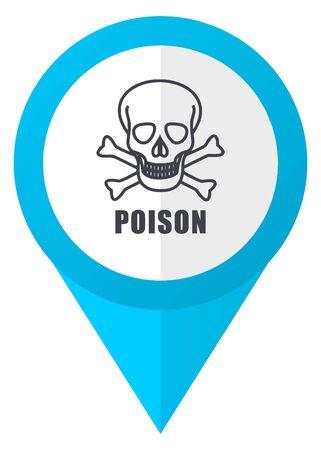 poison: Poison skull blue pointer icon Stock Photo