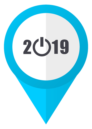New year 2019 blue pointer icon Stock Photo
