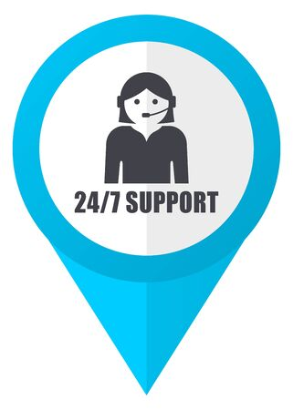call centre girl: 247 support blue pointer icon