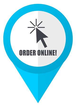 marca libros: Order online blue pointer icon Foto de archivo