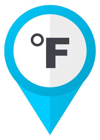 fahrenheit: Fahrenheit blue pointer icon Stock Photo