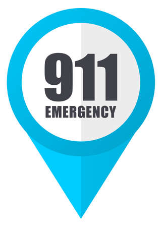 hotline: Number emergency 911 blue pointer icon