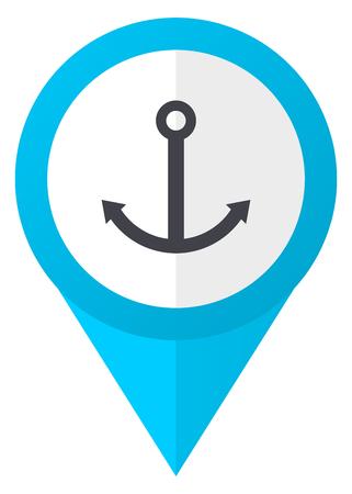 ship anchor: Anchor blue pointer icon