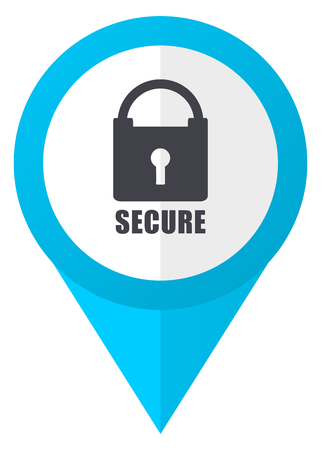 Secure blue pointer icon