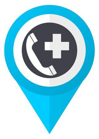 緊急電話青いポインター アイコン