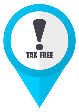Tax free blue pointer icon