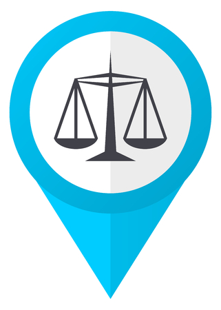 Justice blue pointer icon Stock Photo