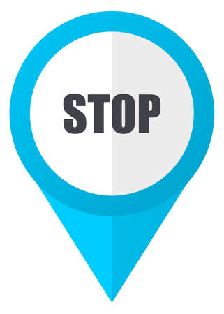 Stop blue pointer icon
