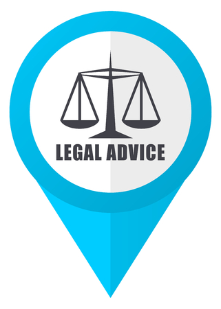Legal advice blue pointer icon