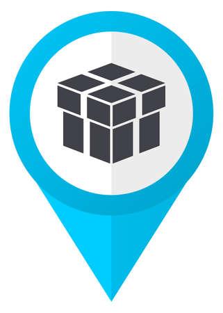 gift basket: Box blue pointer icon