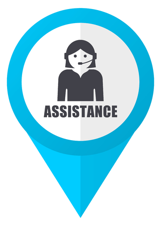 call centre girl: Assistance blue pointer icon