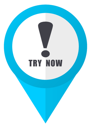 Try now blue pointer icon Stock Photo