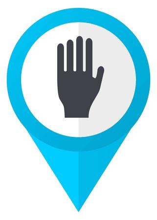 Stop blue pointer icon