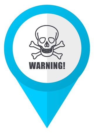 arrow poison: Warning skull blue pointer icon