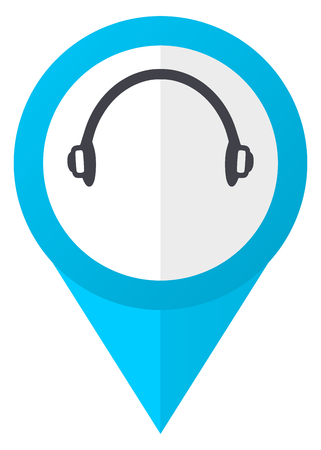 Headphones blue pointer icon