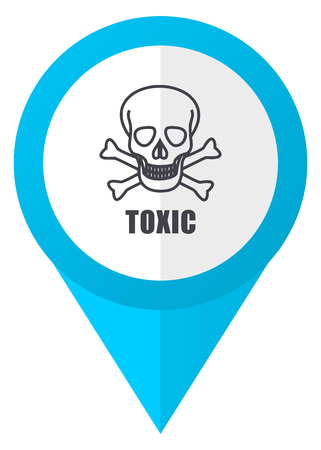 arrow poison: Toxic skull blue pointer icon