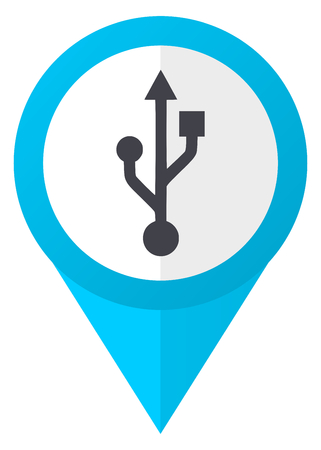 pendrive: Usb blue pointer icon Stock Photo